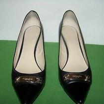 Coach Bowery Womens Black/patent Leather Logo Low Pumps Heels Size 11m (In Box) Photo