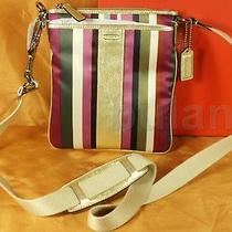 Coach Box Legacy Stripe Swing Pack  Style 48615b Nwt Photo
