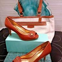 Coach Brass  Logo  Cognac Brown  Leather Stiletto Comfort Women 9 B Sandal Shoes Photo