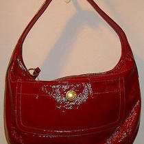 Coach Brick Red Patent Leather Top Zip Hobo Shoulder Bag /  Photo