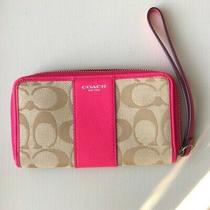 Coach Bright Pink Signature Wristlet Photo