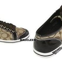Coach Brodi Khaki Brown Mahogani Signature Jacquard Sneaker Shoes Size 5.5b Photo
