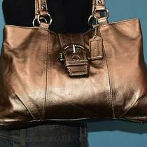 Coach Bronze Metallic Leather Soho Pleat Buckle Shoulder Shopper Purse Bag 18751 Photo