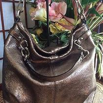 Coach Brook Metallic Gold/pewter Shoulder Handbag 17165  Photo