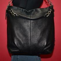 Coach Brooke Black Pebbled Leather Chain Shoulder Hobo Pleated Purse Bag F16618 Photo