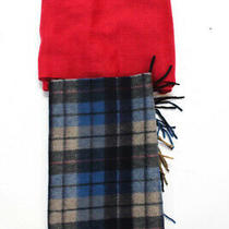 Coach Brooks Brothers Womens Fringe Scarves Red Blue Lot 2 Photo