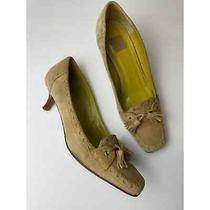 Coach Brown and Green Suede Heels 6.5b Photo