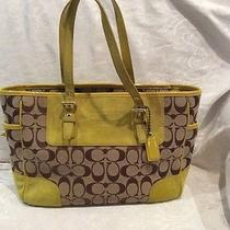 Coach Brown and Yellow Suede and Leather Handbag Photo
