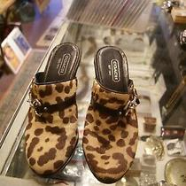 Coach Brown Animal Print Heeled Mules Women's Size 8 B Photo