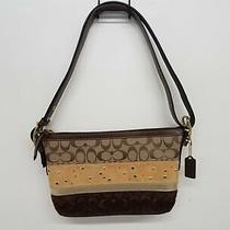 Coach Brown/beige Signature Suede Leather Crossbody Purse Bag - Sc Photo