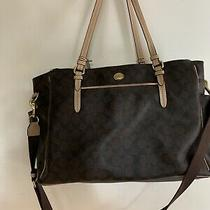 Coach Brown/black Signature Xl Multifunction Baby Diaper Bag Travel Tote Photo