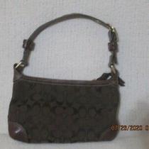 Coach Brown C Logo Signature Bag Purse Adjustable Strap Leather Trim Excellent Photo