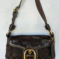 Coach Brown c's Canvas & Leather Small Messenger Flap Hobo Bag Purse 60773-11411 Photo