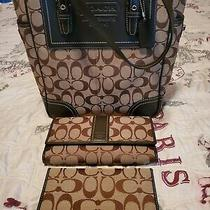 Coach Brown Canvas and Leather Handbag With Wallet and Checkbook Cover Photo