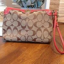 Coach Brown Canvas Red Leather Wristlet  Photo