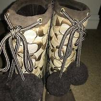 Coach Brown Cs Juniper Women's Winter Mid Calf Boots Sz 8 B - 2370  Photo