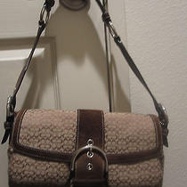 Coach Brown Flap Satchel in Signature Fabric Photo