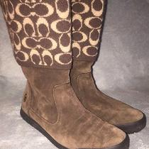 Coach Brown Genuine Suede Boots With Wool Signature Cuff Size 8.5