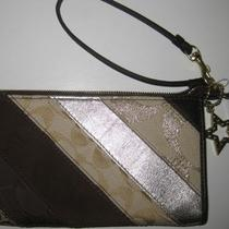 Coach Brown Gold Tan Striped Patchwork Wristlet Wallet 46184 Leather Suede Photo