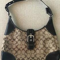 Coach Brown Hampton Signature Jacquard Hobo Shoulder Handbag Purse With Buckle Photo