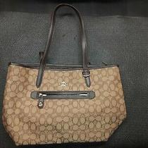 Coach Brown Khaki Leather Jacquard Tote Bag Purse Photo