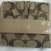 Coach Brown Khaki/putty Leather Trim Signature Canvas Bi-Fold Wallet Nwt Photo