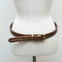 Coach Brown Leather Braided Belt Brass Buckle Size 32