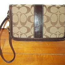 Coach Brown Leather/fabric Signature Wristlet Photo