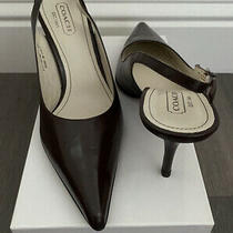 Coach Brown Leather Pointy Toe Slingback Heels Shoes Size 9.5 B 39 Italy Photo
