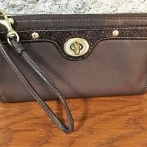 Coach Brown Leather Snakeskin Trim Wallet Wristlet Turntab Phone Case Bag Purse Photo