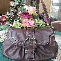 Coach Brown Leather Soho Pleated Flap Buckle Shoulder Hobo Bag Purse 15204 Mint Photo