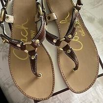 Coach Brown Leather Thong Sandal Rare 6.5 New Photo