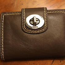 Coach Brown Leather Wallet Textured Strap Gold Turnlock 5 by 3.75