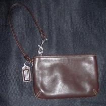 Coach Brown Leather Wristlet Pouch Photo