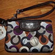 Coach Brown Madison Op Art Multicolor Wristlet 46668 Bnwt Photo