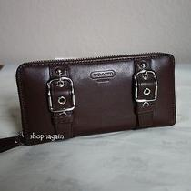 Coach Brown Mahogany Buckle Leather Accordian Zip Around Wallet 228 Photo