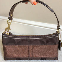 Coach Brown Metallic Signature Stripe Handbag Photo