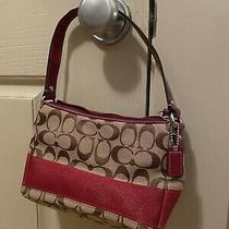 Coach Brown Mini Signature Small Red Purse Pouch Handbag With Handle Photo