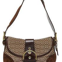 Coach Brown Monogram Black Leather Brown Suede Mini Shoulder Handbag Photo