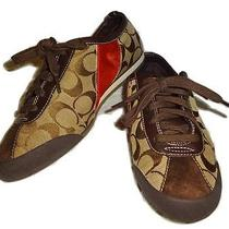 Coach Brown/orange Stripe Sis Signature Canvas Melodie Sneakers Athletic Shoes 8 Photo