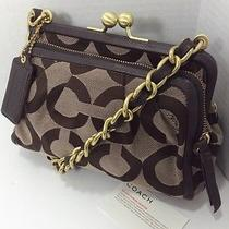 Coach Brown Parker Op Art Clutch Purse  13623 Photo