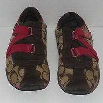 Coach Brown/pink Closure Canvas Sneakers Size 8 M Photo