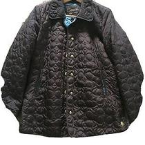 Coach Brown Quilted Signature Snap Front Jacket Mid Weight Sz Xs Photo