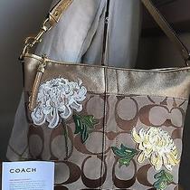 Coach Brown Signature C Jacquard Shoulder Bag W/ Floral Applique Accents Nwot Photo