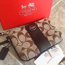 Coach Brown Signature Cc Wristlet Clutch Bag Cell Phone Case New Photo