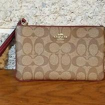 Coach Brown Signature  Coated Canvas Zip  Wristlet Clutch Wallet Bag Purse Photo