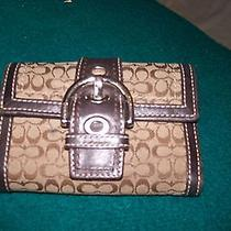 Coach Brown Signature Fabric Brown Leather Trifold Organizer Wallet Photo