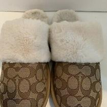 Coach Brown Signature Fur Trim Soft Slippers Size 8 Preowned Photo