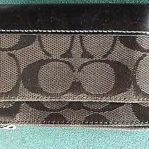 Coach Brown Signature Jacquard & Leather Change Coin Purse Id Key Holder Ring Photo