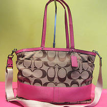 Coach Brown Signature Pink Stripe Tote Diaper Baby Bag Shoulder Cross F13803 Photo